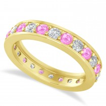 Diamond & Pink Sapphire Eternity Wedding Band 14k Yellow Gold (1.44ct)