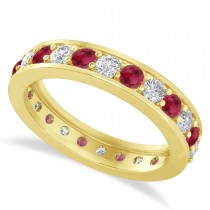 Diamond & Ruby Eternity Wedding Band 14k Yellow Gold (1.44ct)