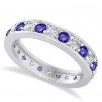 Diamond & Tanzanite Eternity Wedding Band 14k White Gold (1.44ct)