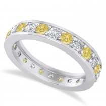 Yellow & White Diamond Eternity Wedding Band 14k White Gold (1.44ct)