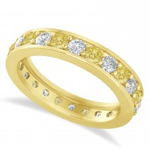 Yellow & White Diamond Eternity Wedding Band 14k Yellow Gold (1.44ct)
