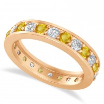 Diamond & Yellow Sapphire Eternity Wedding Band 14k Rose Gold (1.44ct)