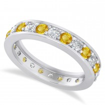 Diamond & Yellow Sapphire Eternity Wedding Band 14k White Gold (1.44ct)