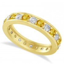 Diamond & Yellow Sapphire Eternity Wedding Band 14k Yellow Gold (1.44ct)