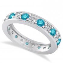 Blue Diamond Eternity Wedding Band 14k White Gold (1.61ct)