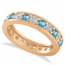 Diamond & Blue Topaz Eternity Wedding Band 14k Rose Gold (1.61ct)