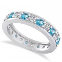 Diamond & Blue Topaz Eternity Wedding Band 14k White Gold (1.61ct)
