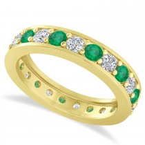 Diamond & Emerald Eternity Wedding Band 14k Yellow Gold (1.61ct)