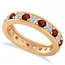 Diamond & Garnet Eternity Wedding Band 14k Rose Gold (1.61ct)
