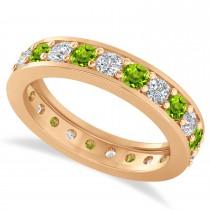 Diamond & Peridot Eternity Wedding Band 14k Rose Gold (1.61ct)