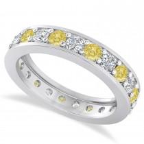 Yellow Diamond Eternity Wedding Band 14k White Gold (1.61ct)