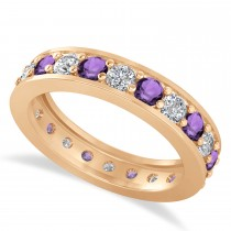 Diamond & Amethyst Eternity Wedding Band 14k Rose Gold (1.76ct)