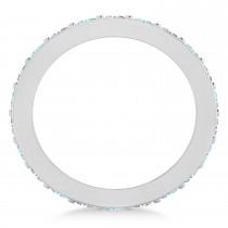 Diamond & Aquamarine Eternity Wedding Band 14k White Gold (1.76ct)