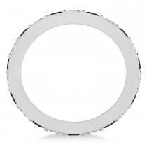 Black & White Diamond Eternity Wedding Band 14k White Gold (1.76ct)