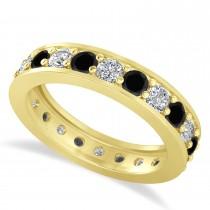Black & White Diamond Eternity Wedding Band 14k Yellow Gold (1.76ct)