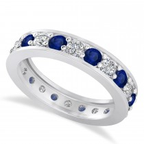 Diamond & Blue Sapphire Eternity Wedding Band 14k White Gold (1.76ct)