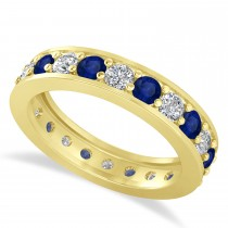 Diamond & Blue Sapphire Eternity Wedding Band 14k Yellow Gold (1.76ct)