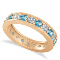 Diamond & Blue Topaz Eternity Wedding Band 14k Rose Gold (1.76ct)