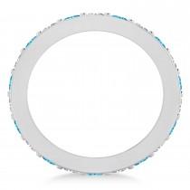 Diamond & Blue Topaz Eternity Wedding Band 14k White Gold (1.76ct)