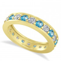 Diamond & Blue Topaz Eternity Wedding Band 14k Yellow Gold (1.76ct)