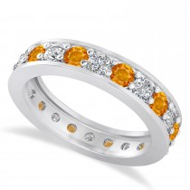 Diamond & Citrine Eternity Wedding Band 14k White Gold (1.76ct)