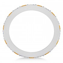 Diamond & Citrine Eternity Wedding Band 14k White Gold (1.76ct)