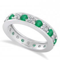 Diamond & Emerald Eternity Wedding Band 14k White Gold (1.76ct)