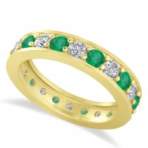 Diamond & Emerald Eternity Wedding Band 14k Yellow Gold (1.76ct)