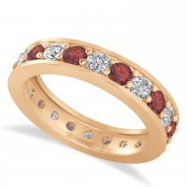 Diamond & Garnet Eternity Wedding Band 14k Rose Gold (1.76ct)
