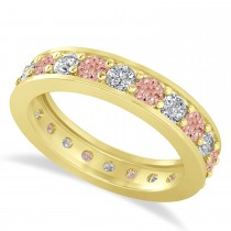 Diamond & Morganite Eternity Wedding Band 14k Yellow Gold (1.76ct)