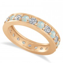 Diamond & Opal Eternity Wedding Band 14k Rose Gold (1.76ct)