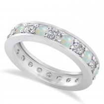 Diamond & Opal Eternity Wedding Band 14k White Gold (1.76ct)