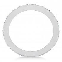 Diamond & Opal Eternity Wedding Band 14k White Gold (1.76ct)