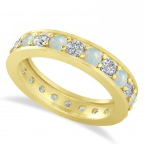 Diamond & Opal Eternity Wedding Band 14k Yellow Gold (1.76ct)