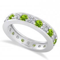 Diamond & Peridot Eternity Wedding Band 14k White Gold (1.76ct)