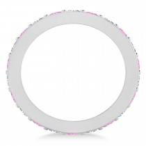 Diamond & Pink Sapphire Eternity Wedding Band 14k White Gold (1.76ct)