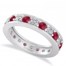 Diamond & Ruby Eternity Wedding Band 14k White Gold (1.76ct)