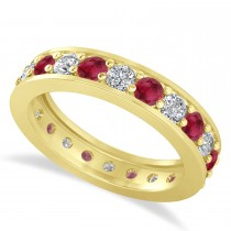 Diamond & Ruby Eternity Wedding Band 14k Yellow Gold (1.76ct)