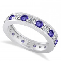 Diamond & Tanzanite Eternity Wedding Band 14k White Gold (1.76ct)