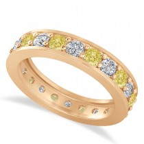 Yellow & White Diamond Eternity Wedding Band 14k Rose Gold (1.76ct)