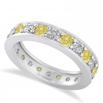 Yellow & White Diamond Eternity Wedding Band 14k White Gold (1.76ct)