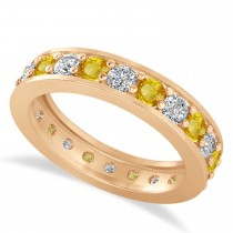 Diamond & Yellow Sapphire Eternity Wedding Band 14k Rose Gold (1.76ct)
