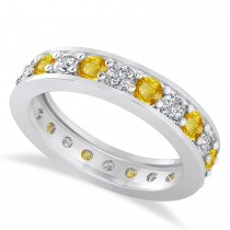 Diamond & Yellow Sapphire Eternity Wedding Band 14k White Gold (1.76ct)