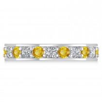 Diamond & Yellow Sapphire Eternity Wedding Band 14k White Gold (1.76ct)