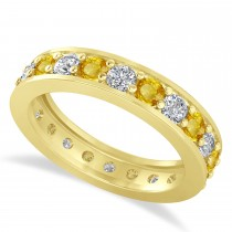 Diamond & Yellow Sapphire Eternity Wedding Band 14k Yellow Gold (1.76ct)