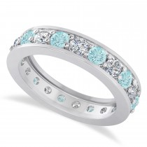 Diamond & Aquamarine Eternity Wedding Band 14k White Gold (1.89ct)