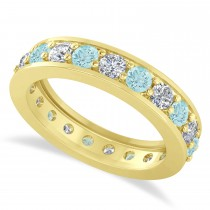 Diamond & Aquamarine Eternity Wedding Band 14k Yellow Gold (1.89ct)