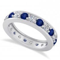 Diamond & Blue Sapphire Eternity Wedding Band 14k White Gold (1.89ct)