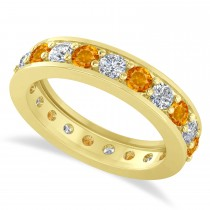 Diamond & Citrine Eternity Wedding Band 14k Yellow Gold (1.89ct)