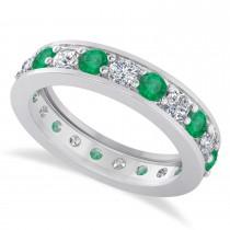 Diamond & Emerald Eternity Wedding Band 14k White Gold (1.89ct)